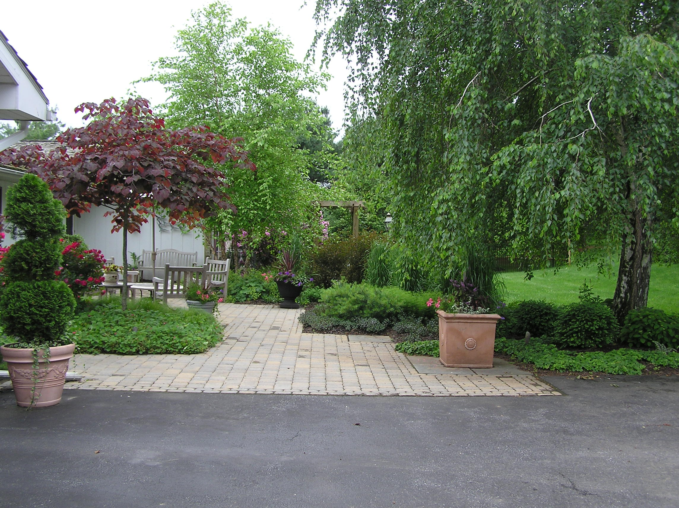 Entry garden, Outdoor entry, outdoor foyer, front of house landscaping, landscape, Bethlehem, PA., Allentown, PA,