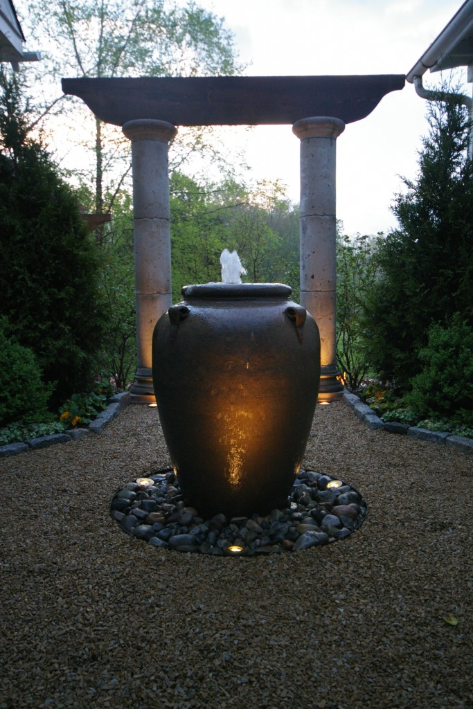 Water features can be created using a variety of materials.