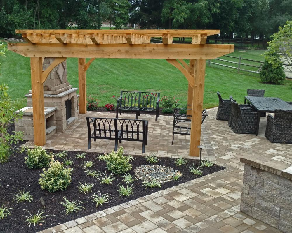 Pergola and Outdoor Fireplace