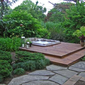Flagstone Patio And Hot Tub; Hot Tub Landscaping ...