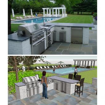 outdoor kitchen and swimming pool