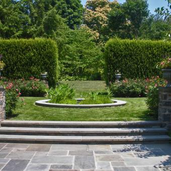 landscape planting design with rose garden