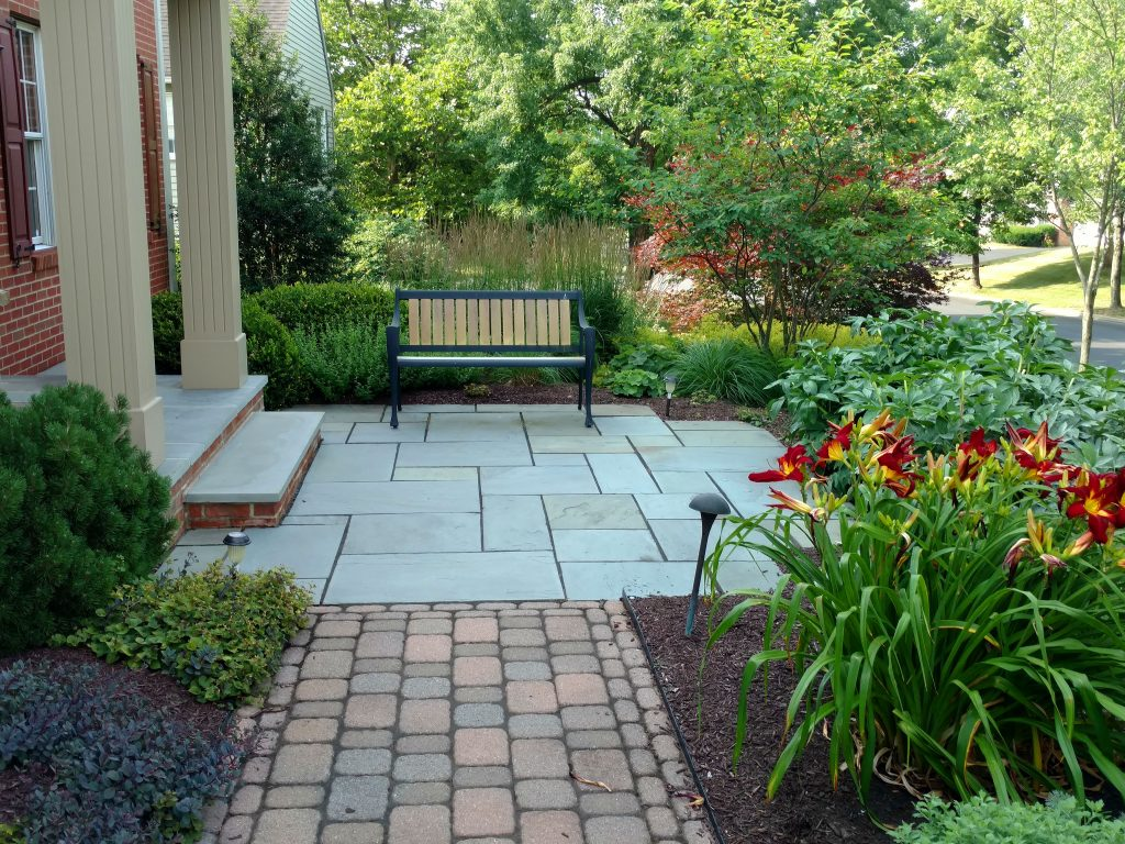 Flagstone Patio Front Of House Landscaping Outdoor
